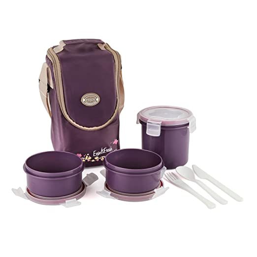 Cello Enjoy Plastic Lunch Box with 3 Container Fabric Bag Maroon Lunch Boxes