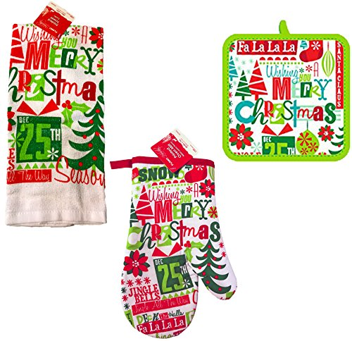 Christmas Printed Kitchen Set- Towels, Oven Mitts, & Pot Holders (Christmas Phrases) -
