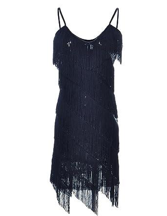 PrettyGuide Women Sequin Fringe 1920s Flapper Inspired Party Latin Dress  Black S