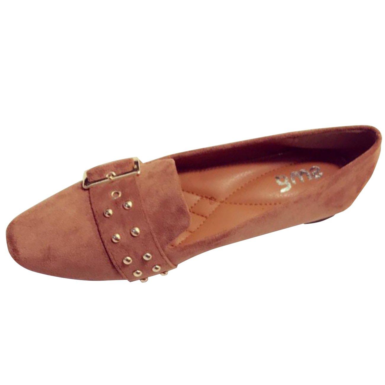 Mashiaoyi Womens Square-Toe British-Style Flat Slip-on Buckle Rivet Loafers