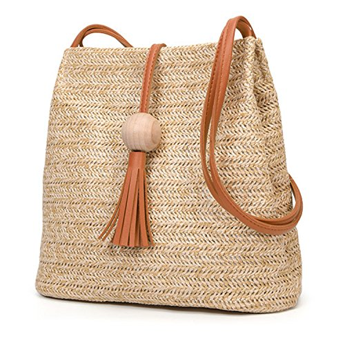 Brown bag Bali SODIAL Vintage Straw Shoulder Bag Round bag Bohemian Bag Handmade Crossbody Small Leather Rattan Circle Beach Girls Brown 1HBnpCqwHx