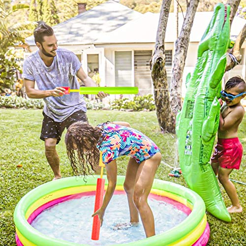 Kiztoys Water Gun, 6 Pack Pool Toys 17.7'' Squirt Gun for Kids with 35FT Long Shot Distance Foam Water Blaster for Children & Adult, Summer Toy for Pool, Garden and Beach