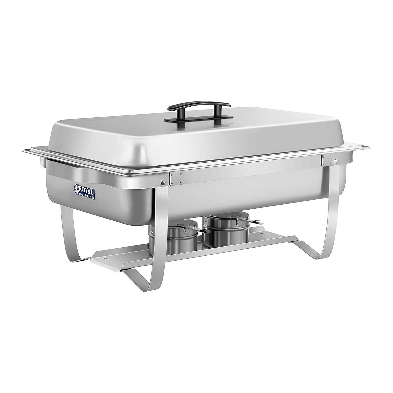 Royal Catering Chafing Dish Calentador Para Buffet RCCD-1.3GN-1 (2 Calentadores, Incl. GN 1/2, 2 x 1/4, Depósito de agua 6,5 L, Contenedor para comida 8 L, ...
