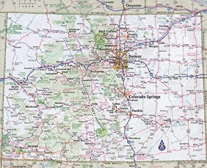 picture regarding Printable Map of Colorado referred to as : COLORADO Nation Highway MAP Shiny POSTER Visualize