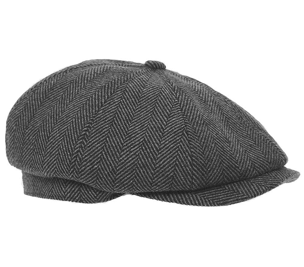 Hawkins Mens Flat Cap Grey Herringbone newsboy Bakerboy Style Gatsby Hat (60cm (X-Large))