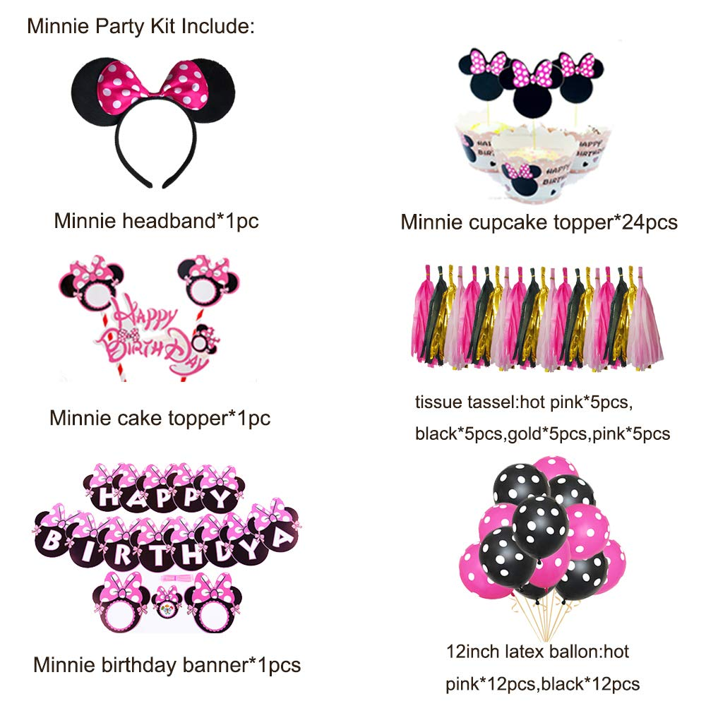 Minnie Mouse Birthday Party Supplies Decorations Party Favors Cute Banner Headband Balloon Cupcake Topper for Girls 1st 2nd 3rd Birthday Baby Shower