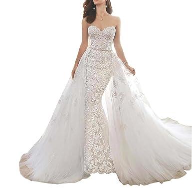 Tsbridal Detachable Skirt Wedding Dress Lace Mermaid Wedding Dresses ...