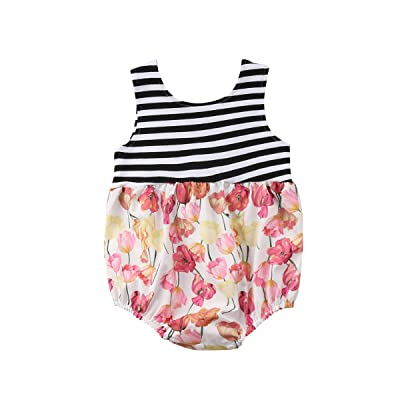 3b61440b26d9 Mornbaby Infant Baby Girl Clothes Sleeveless Striped Tulip Floral Romper  Jumpsuit Summer Outfit
