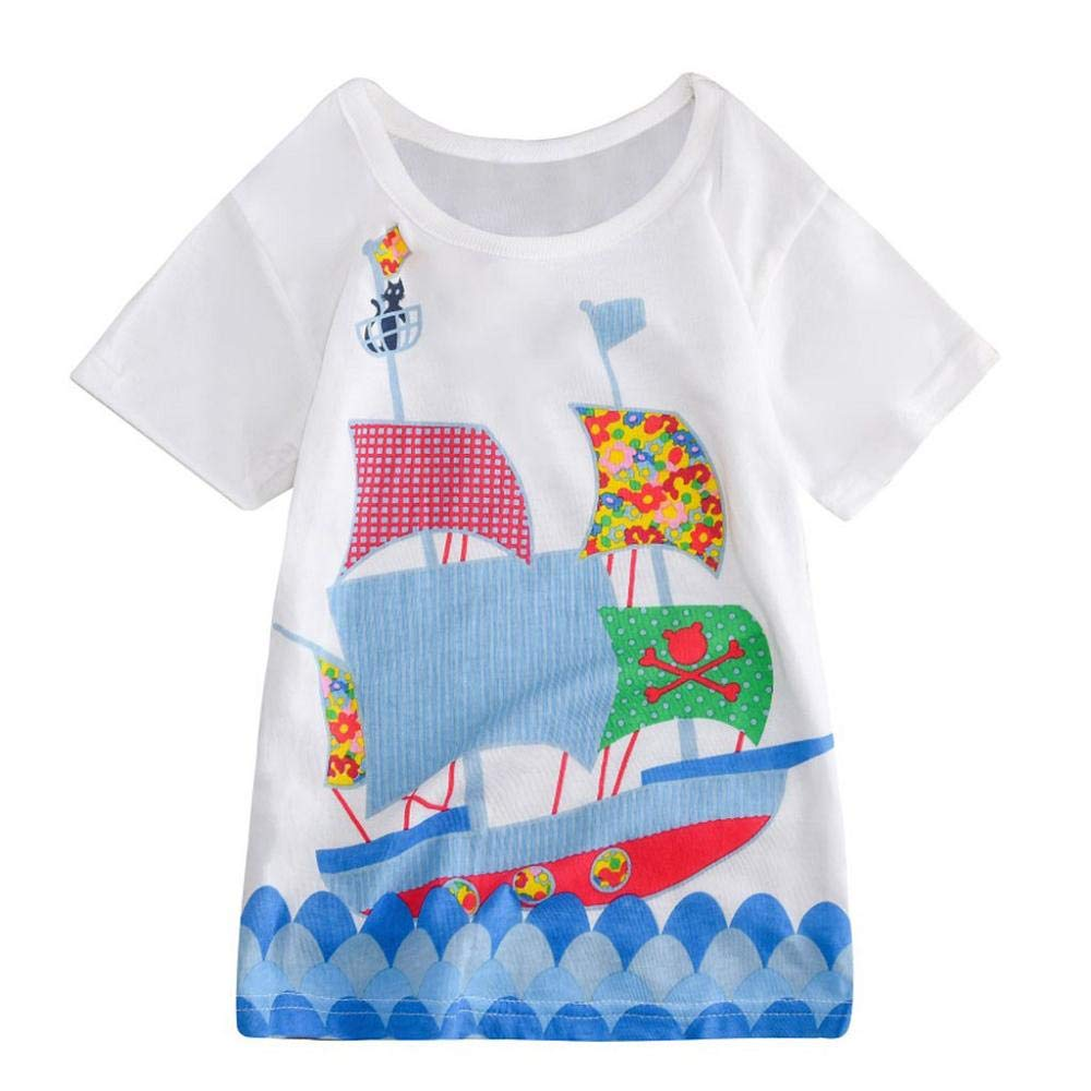 Zerototens Girls Dress,1-8 Years Old Toddler Kids Baby Girls Cartoon Animal Print Short Sleeve Crewneck T-Shirt Dress Children Blouse Tops