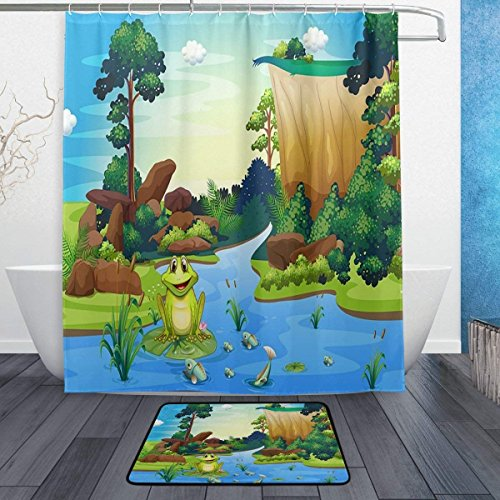 Huishe1 Bathroom Set Bath Rugs, Frog Playing at the River Fabric Shower Curtain 60x72 inch and Decorative Matching Mat 23.6X15.7 ()