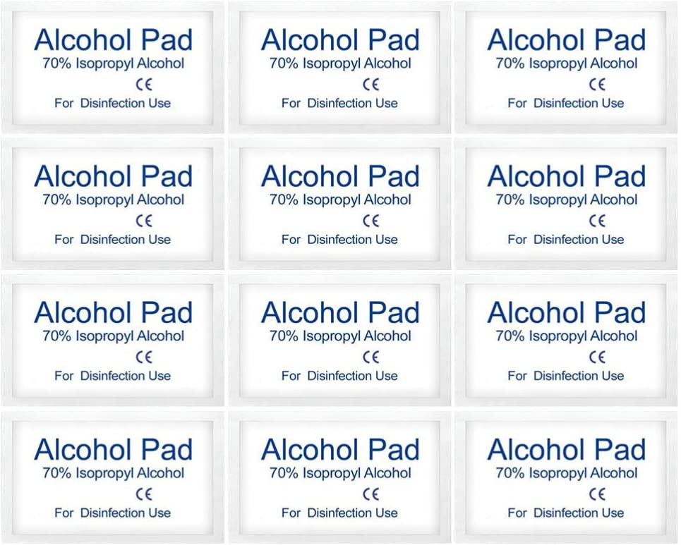 Exceart 200 Pcs Lingettes /à Lalcool Jetables D/ésinfection /à Lalcool Lingettes Alcool Tampon de Coton pour Voyage /à Domicile Plaies St/érilisation Premiers Soins