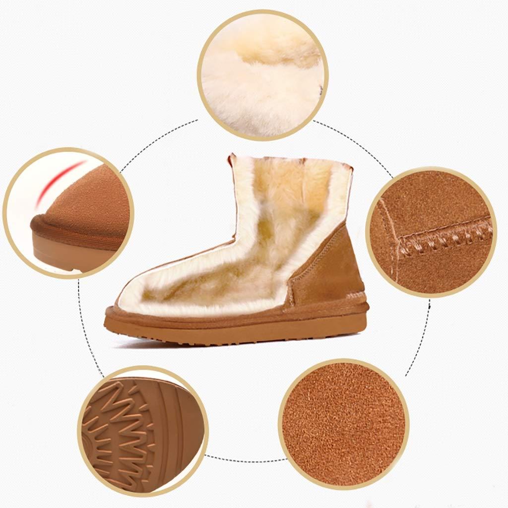 YUBIN Damen Button Plus Velvet Warm Warm Warm Halten Rutschfeste Schneestiefel Sand Braun Grau Schwarz (Farbe   Maroon größe   EU 38 US 6 UK 5 JP 24cm) 6145c1