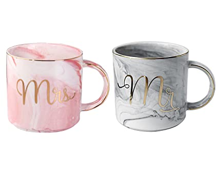 Marble Mr /& Mrs Set Of 2 Mugs Wedding Gift Tea Coffee Hubby /& Wifey Stacking Cup