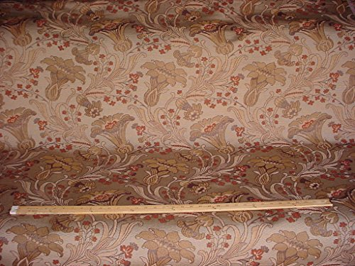 88H10 - Copper / Stone Gothic Tulip Floral Trumpet Flower Jacquard Tapestry / Brocade To the Trade / Designer Upholstery Drapery Fabric - By the Yard (Kravet Floral Tapestry Upholstery Fabric)