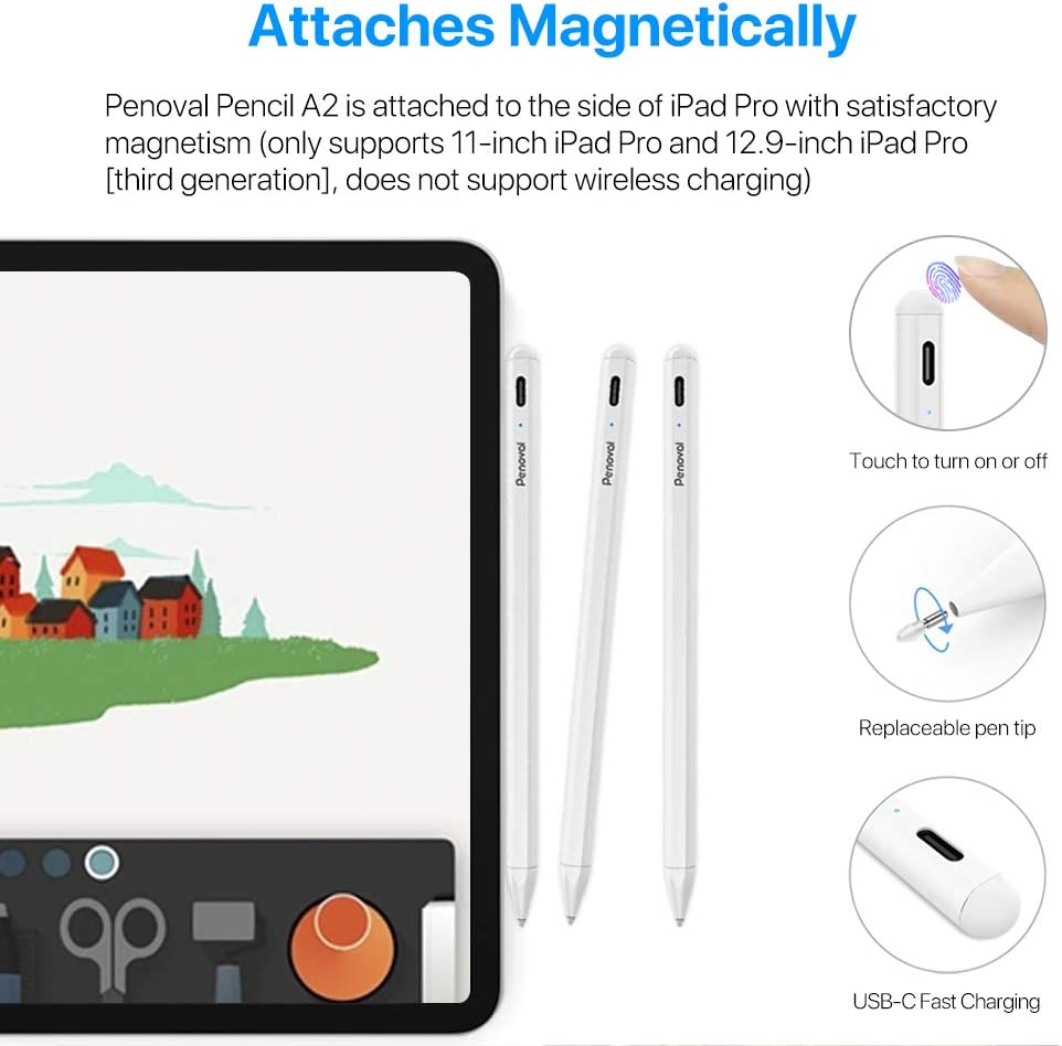 2018-2020 Compatible with Apple iPad Pro 11 /& 12.9-inch Stylus Pen for Apple iPad Pencil Penoval iPad Pencil with Palm Rejection and Magnetic Function iPad 7th//iPad 6th//Mini 5th Gen//iPad Air 3rd
