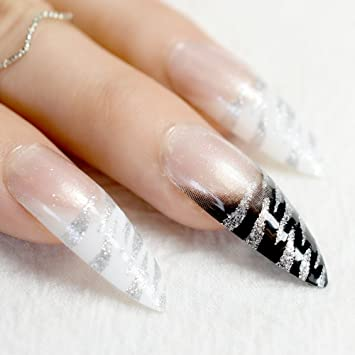 echiq lang stiletto nagel tipps wei schwarz zebra muster french false ngel mit silber glitzer sharp - French Nagel Muster