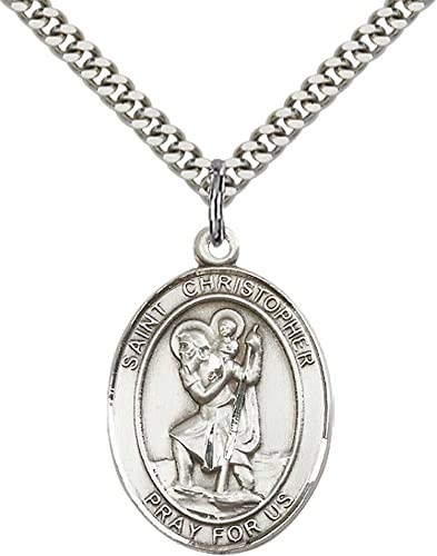 Patron Saint of Travelers//Motorists Christopher Pendant with 24 Stainless Steel Heavy Curb Chain F A Dumont Church Supplies Custom Engraved Sterling Silver St