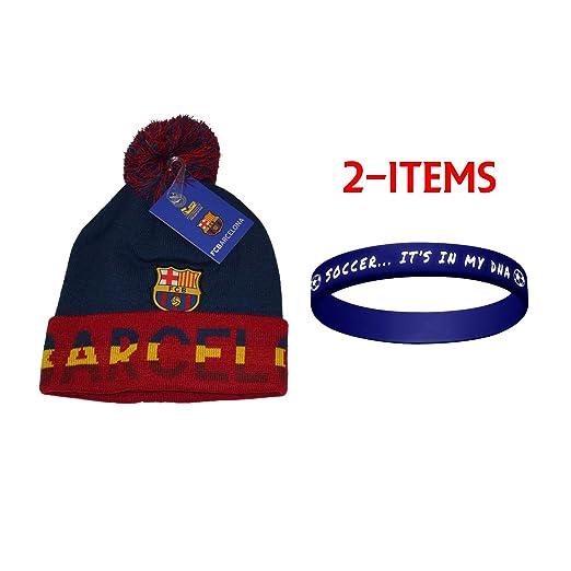 3b7f72c01e7 Amazon.com  Fc Barcelona Beanie Skull Cap Pom Pom Hat Season 2015-2016 (Blue)   Clothing