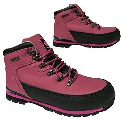 a5ebddcd309 BARGAINS-GALORE Ladies Safety Boots Steel Toe CAPS Ankle Trainers Hiking  Shoes Fuchsia 3-