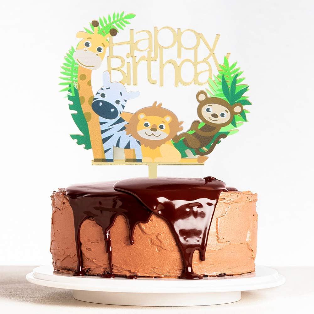 Admirable Amazon Com Webenison Animal Theme Happy Birthday Cake Topper Baby Funny Birthday Cards Online Amentibdeldamsfinfo