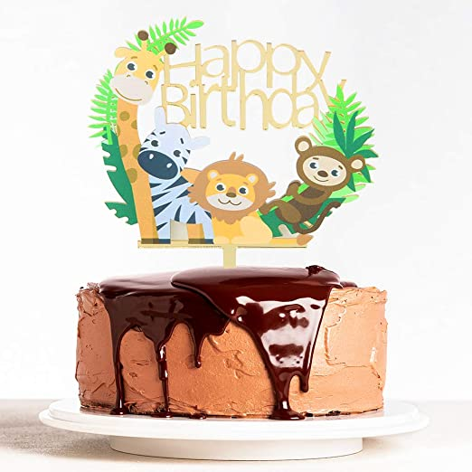 Awe Inspiring Amazon Com Webenison Animal Theme Happy Birthday Cake Topper Baby Funny Birthday Cards Online Amentibdeldamsfinfo