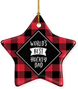 Andaz Press Star Ceramic Porcelain Christmas Tree Ornament Keepsake Gift, World's Best Hockey Dad, Plaid, 1-Pack, Birthday Gift Ideas Coworker Him Her, Includes Gift Box