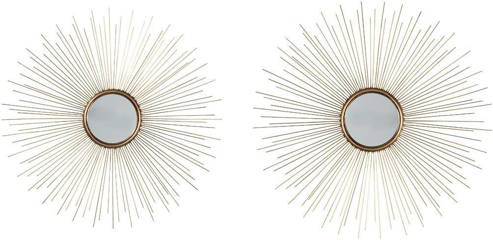 Signature Design by Ashley - Doniel Accent Mirror - Set of Two - Sunburst Design - Antique Gold