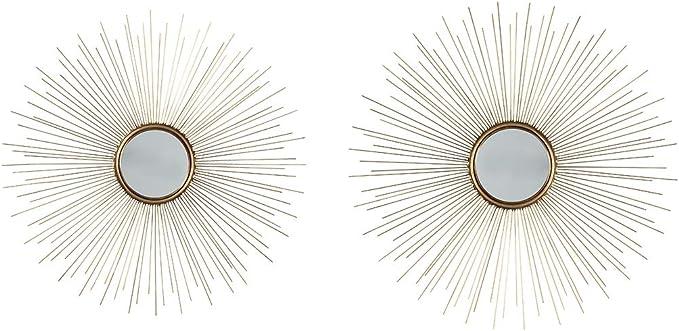 Signature Design By Ashley Doniel Accent Mirror Set Of Two Sunburst Design Antique Gold Home Kitchen