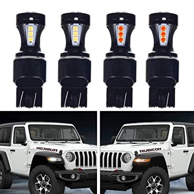 Jeep JL Front Turn Signal DRL LED for 2020-2020 Jeep JL Wrangler Sahara & Rubicon 2020 Jeep Gladiator Rubicon Overland in White and Amber Pack of 4: Automotive