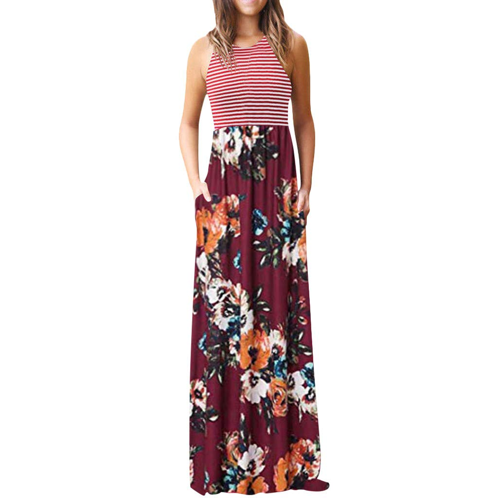 FarJing Women Round Neck Stripe Sleeveless Casual Floral Print Long Maxi Dresses with Pocket(XL,Wine Red