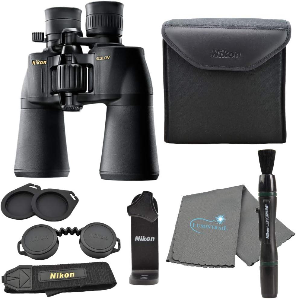 Nikon Aculon A211 10-22x50 Binoculars Black (8252) Bundle with a Tripod Adapter, Nikon Lens Pen, and Lumintrail Cleaning Cloth