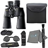 Nikon Aculon A211 10-22x50 Binoculars Black (8252) Bundle with a Tripod Adapter, Nikon Lens Pen, and Lumintrail Cleaning Clot