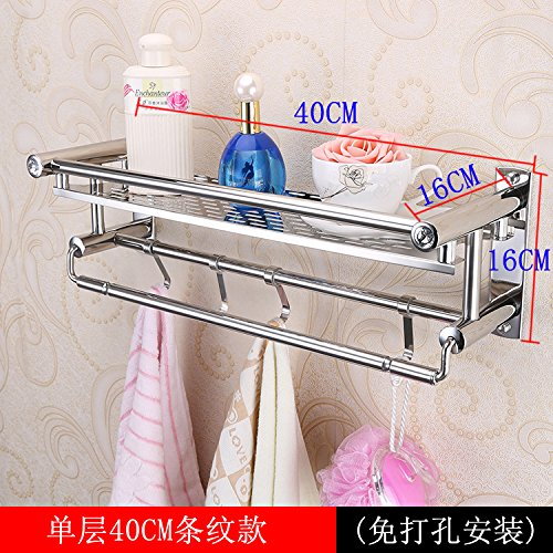Yomiokla Bathroom Accessories - Kitchen, Toilet, Balcony and Bathroom Metal Towel Ring Stainless Steel Punch-free built-in shelf toilet 2 tier wall in a single layer of 40 cm stripes, from Punch