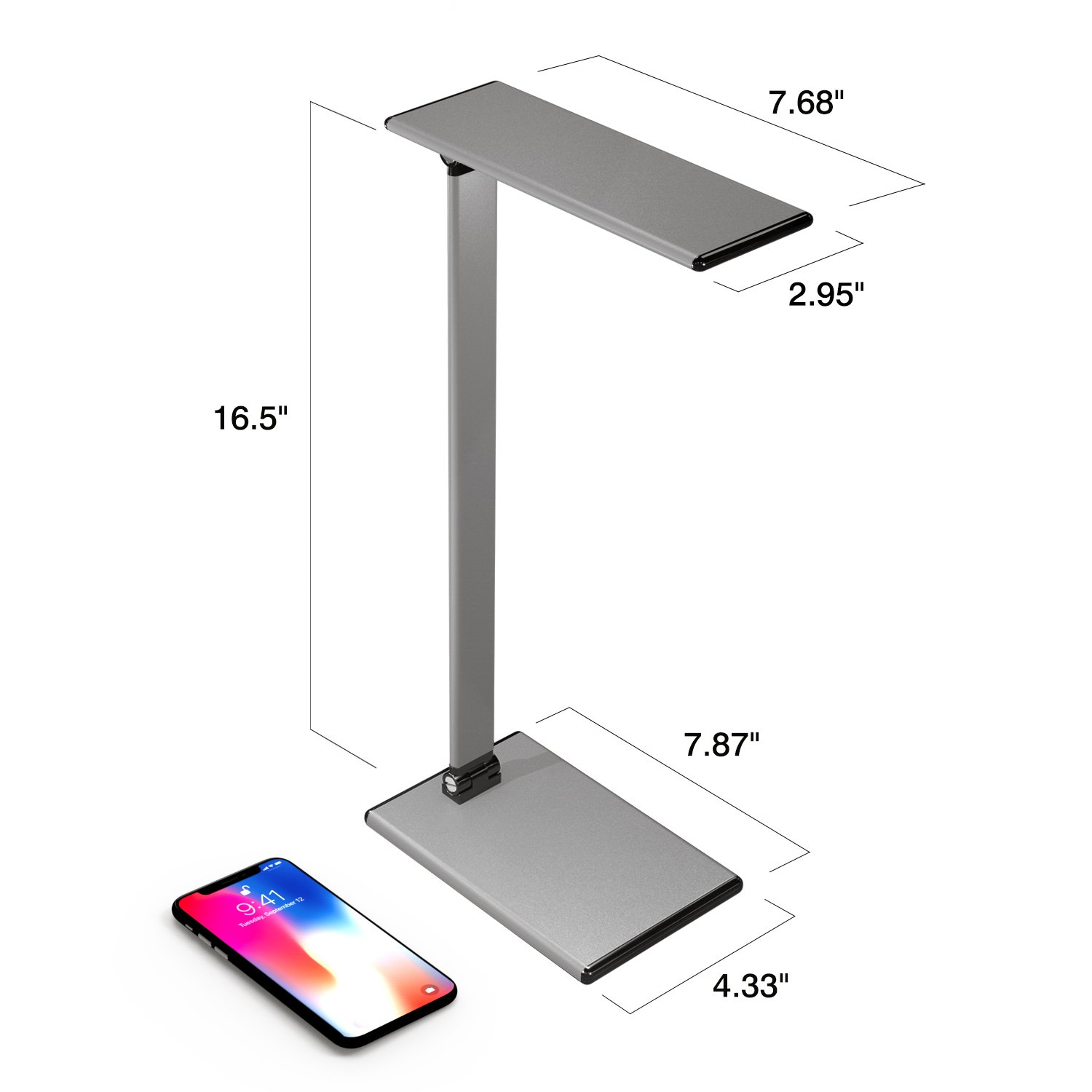 MoKo LED Desk Lamp, 8W Eye-Care Smart Touch Control Table Lamps with Rugged Aluminum Alloy Body, Stepless Adjusted Color Temperature/Brightness Level, Rotatable Arm/Head, Memory Function - Dark Gray by MoKo (Image #6)