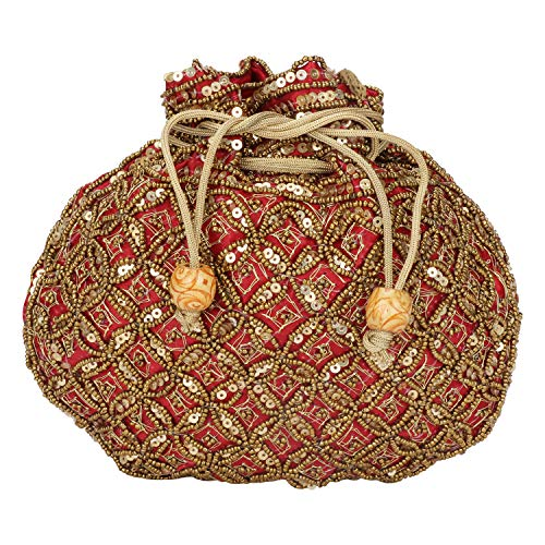 (Indian sequence Potli Bag/wedding purse/jewelery purse for girls & women (Base Color- Maroon))