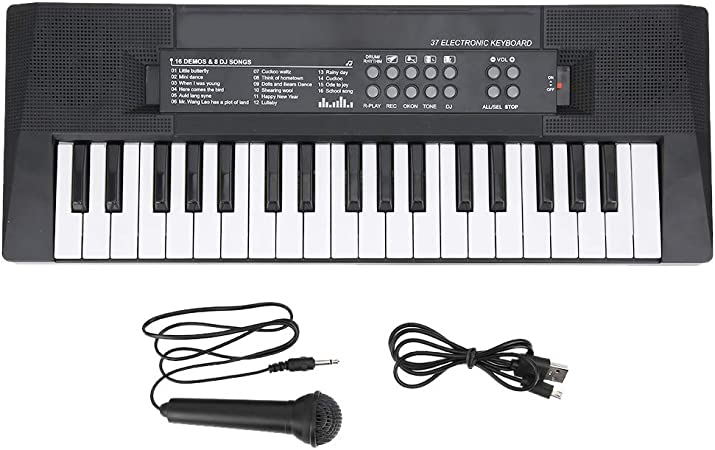 Piano de teclado eléctrico, 37 teclas, función de grabación de micrófono de piano, juguete de instrumentos musicales para niños, 8 tonos, 6 canciones, ...
