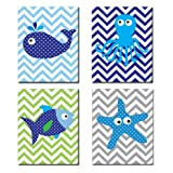 The Kids Room by Stupell Sea Creatures with Chevron Background 4-Pc Rectangle Wall Plaque Set