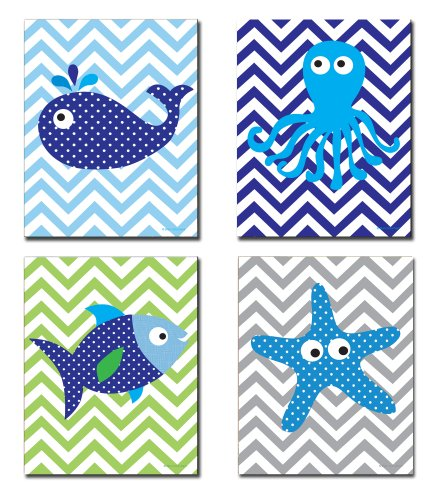 The Kids Room By Stupell Sea Creatures With Chevron Background 4-Pc Rectangle Wall Plaque Set, Proudly Made in USA -