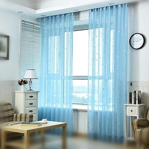 SYNCHKG084806 Pureaqu Kids Room Window Curtain Decoration W39xH84 Rod Pocket Process Multiple Sizes Star Voile Curtain//Drape 1 Panel