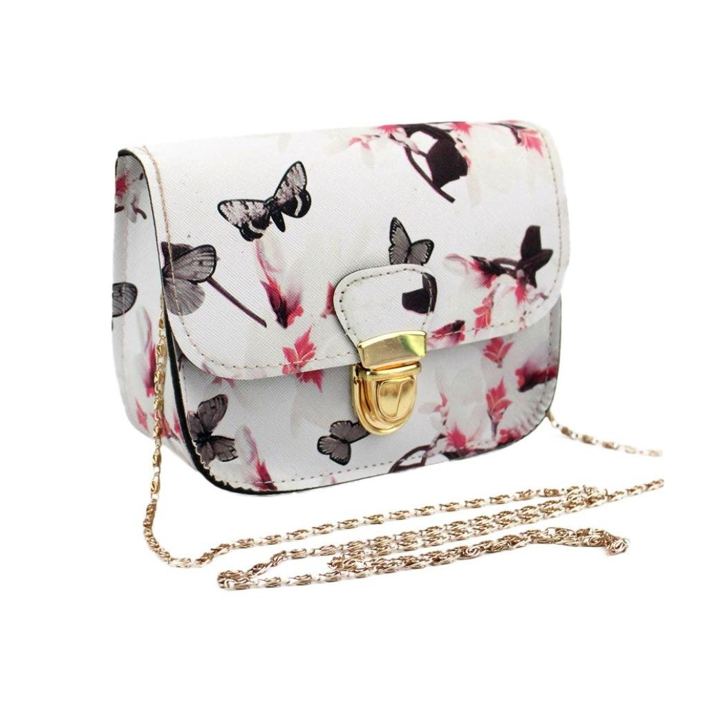 3348338f1b29 Clearance!! FDelinK Women Butterfly Flower PU Leather Purse Cross Body  Handbag Concealed Carry Single Shoulder Bag (White)