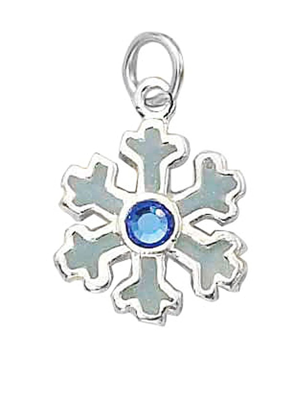 Sterling Silver 7 4.5mm Charm Bracelet With Attached Whitish Snowflake Charm Blue Crystal
