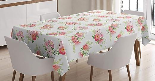 Imagen deABAKUHAUS En Mal Estado de Flora Mantele, Los brotes Frescos de Magnolia, Resistente al Agua Lavable Colores No Destiñen Personalizado, 140 x 200 cm, Rosa Verde Off White