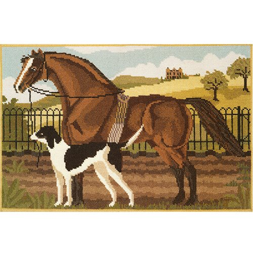 Suffolk Punch and Hound Needlepoint Tapestry Kit from Elizabeth Bradley premium English needlework project with 100% wool yarns. Equestrian or hunting lodge inspired needlepoint.