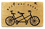 Tag - Best Day Ever Bicycle Coir Mat, Decorative All-Season Mat for The Front Porch, Patio or Entryway, Black/Natural