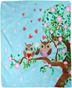 Adowyee 50x60 Inch Soft Decor Throw Blanket Flowering Tree and Two Cute Owls in Love Warm Cozy Flannel Bed Blankets for Home Sofa Couch Chair Living Bedroom