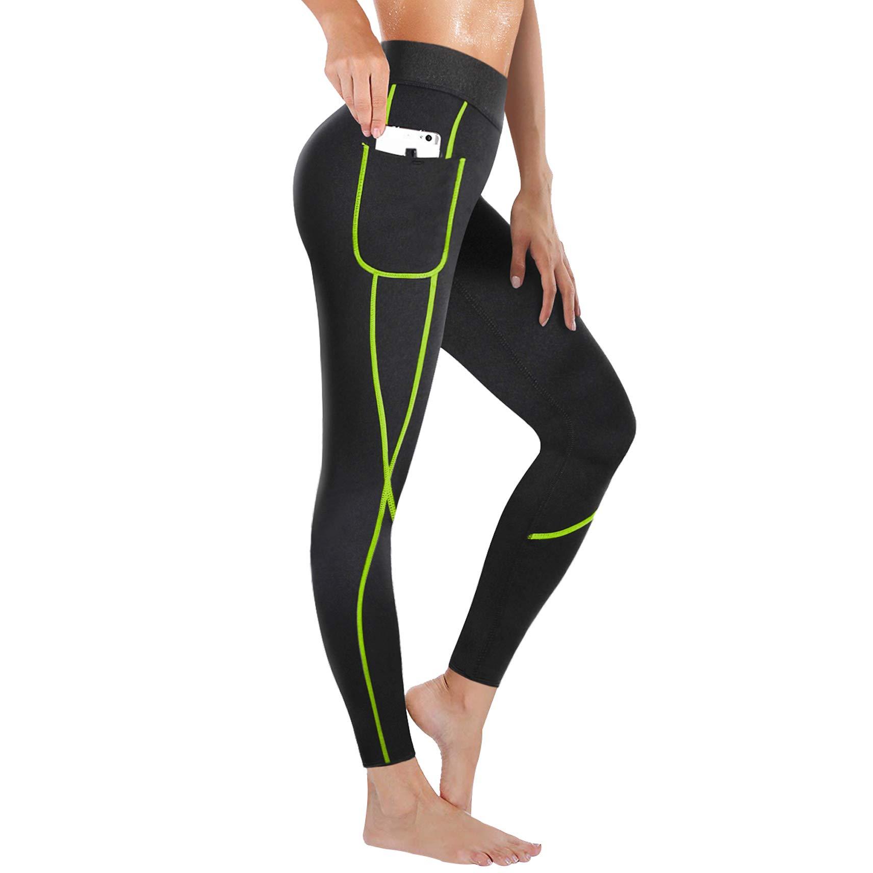 Rolewpy Women Neoprene Sauna Slimming Pants Weight Loss Hot Thermo Sweat Body Shaper Capri for Fat Burner Leggings (Green Line, Small (US 6-8))