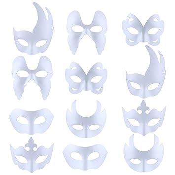 Máscara Blanca, Outgeek 12PCS Máscara Blanca Para Pintar De Disfraces Decoración De Bricolaje Carnaval De Veneciano Traje De Halloween Cosplay Para ...