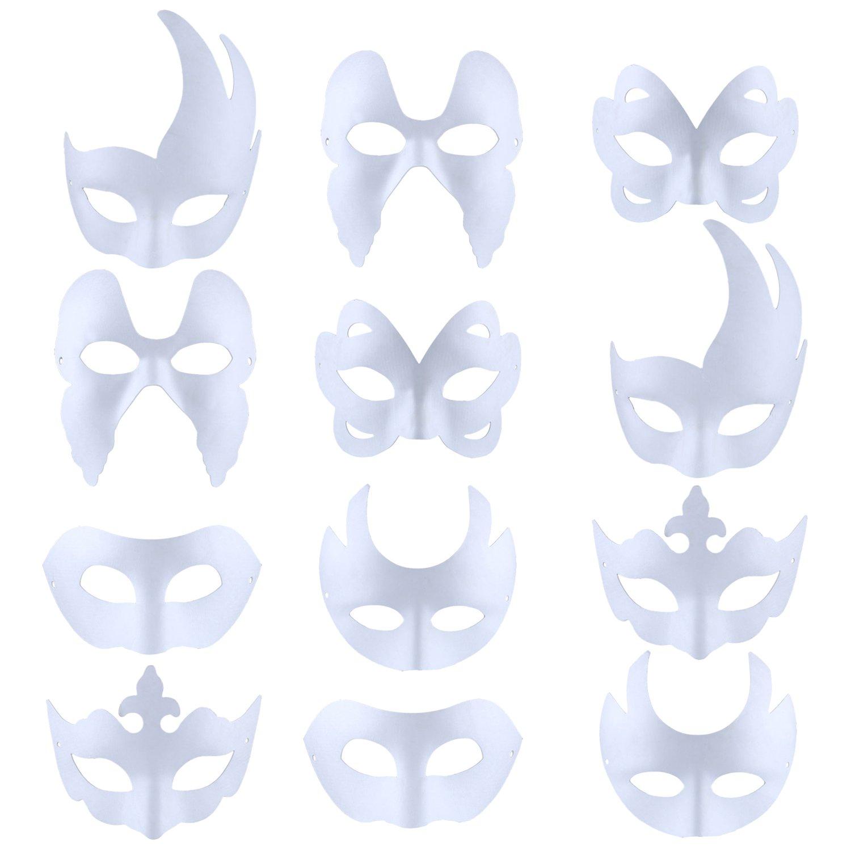 Coxeer White Masks, 12PCS DIY Unpainted Masquerade Masks Plain Half Face Masks