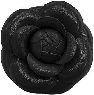 "product image for Camellia Leather Flower Pin Brooch. 3"" Black Camellia Brooch Pin - Hand-made in New York's Garment Center (American Made)"