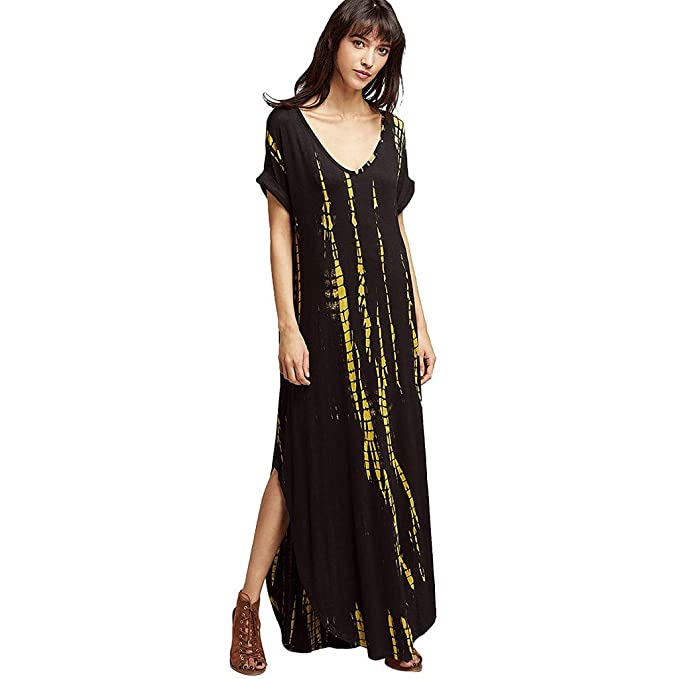 08ebd4267c33 chengzhijianzhu Women's Short Sleeve Maxi Dress Split Silhouette Long T-Shirt  Dress Black